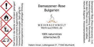 Damaszener-Rose-Flaschenlabel