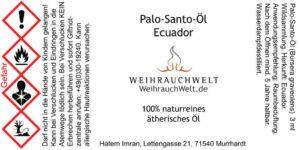 Palo-Santo-Flaschenlabel