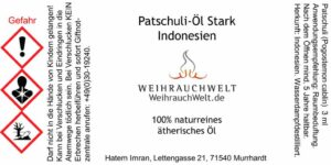 Patschuli-Stark-Flaschenlabel
