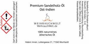 Sandelholz-Indien-Flaschenlabel