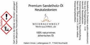 Sandelholz-NC-Flaschenlabel
