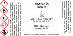 Thymian-Flaschenlabel